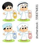 arab children carrying ramadan... | Shutterstock .eps vector #558376831
