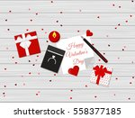 flat design of valentine's day... | Shutterstock .eps vector #558377185