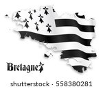 Stock vector vector map of brittany silhouette with shadow on white background 558380281