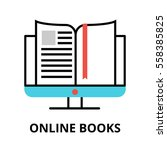 online books icon  flat thin... | Shutterstock .eps vector #558385825