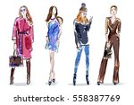sketch girls set. stylish hand... | Shutterstock .eps vector #558387769