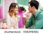 beautiful  couple having fun... | Shutterstock . vector #558398581