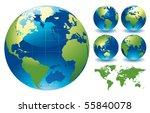 world globe maps   editable... | Shutterstock .eps vector #55840078
