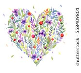 card with watercolor floral... | Shutterstock . vector #558409801