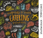catering card. hand drawn... | Shutterstock .eps vector #558411661