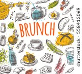 brunch card with elements of... | Shutterstock .eps vector #558412069