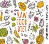 raw food diet. vegetarian card... | Shutterstock .eps vector #558412099