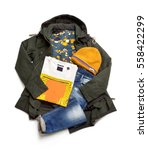winter clothes isolated on...   Shutterstock . vector #558422299