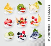 big collection icons of fruit... | Shutterstock .eps vector #558423211