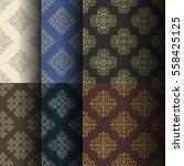 set of seamless vintage... | Shutterstock .eps vector #558425125