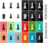 chess icon set black and white... | Shutterstock .eps vector #558429055