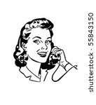 Lady Chatting On The Phone - Retro Clip Art   Shutterstock vector #55843150