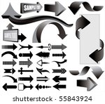 black 3d vector arrows set | Shutterstock .eps vector #55843924