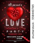 valentines party flyer design... | Shutterstock .eps vector #558440785