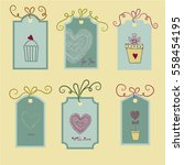 labels with hand drawn hearts.... | Shutterstock .eps vector #558454195