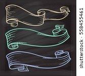 vector set of color chalk... | Shutterstock .eps vector #558455461