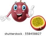 cartoon passion fruit  giving... | Shutterstock .eps vector #558458827