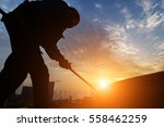 construction worker on... | Shutterstock . vector #558462259