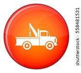 car towing truck icon in red... | Shutterstock . vector #558481531
