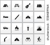 set of 16 editable camping... | Shutterstock .eps vector #558489964
