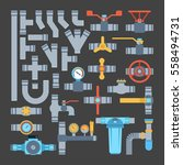 pipes vector icons isolated. | Shutterstock .eps vector #558494731