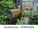 wooden mail box in flower...   Shutterstock . vector #558504289