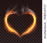 Fire Heart On Dark Transparent...