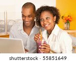 young couple smile as they work ... | Shutterstock . vector #55851649
