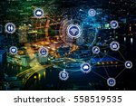 smart city and wireless... | Shutterstock . vector #558519535