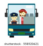 tourist bus with driver and... | Shutterstock . vector #558520621
