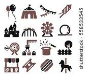 amusement park icon set | Shutterstock .eps vector #558533545
