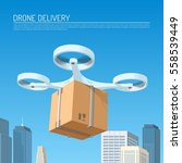 drone delivery concept vector...   Shutterstock .eps vector #558539449