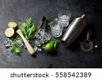 mojito cocktail making. mint ... | Shutterstock . vector #558542389