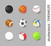 sport ball icons set on gray... | Shutterstock .eps vector #558548155