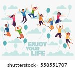 group of young people jumping... | Shutterstock .eps vector #558551707