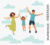 happy family jumping on white... | Shutterstock .eps vector #558554245