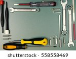 carpentry and set of hand tools.... | Shutterstock . vector #558558469