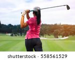 women golf player  | Shutterstock . vector #558561529