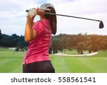 Women player golf swing shot on ...