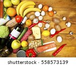 set of fuits and vegatables and ... | Shutterstock . vector #558573139
