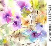 floral pattern. watercolor... | Shutterstock . vector #558574285