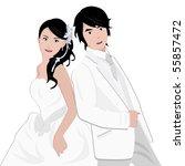 asian couple wedding vector   Shutterstock .eps vector #55857472