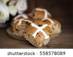 hot cross buns with flowers... | Shutterstock . vector #558578089