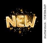 new gold letter balloons on... | Shutterstock .eps vector #558586369