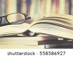 close up opened book page and ... | Shutterstock . vector #558586927