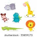 Stock vector vector cartoon illustration of six cute safari animals giraffe hippopotamus rhinoceros 55859173