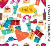 seamless pattern of valentines... | Shutterstock .eps vector #558593155