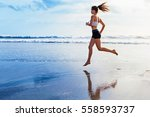 active sporty woman run along... | Shutterstock . vector #558593737