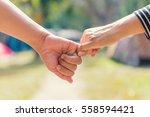 happy couple holding hands...   Shutterstock . vector #558594421