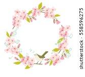 sakura cherry blossom round... | Shutterstock .eps vector #558596275